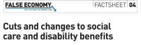 Banner from FE factsheet on social care, dla and esa